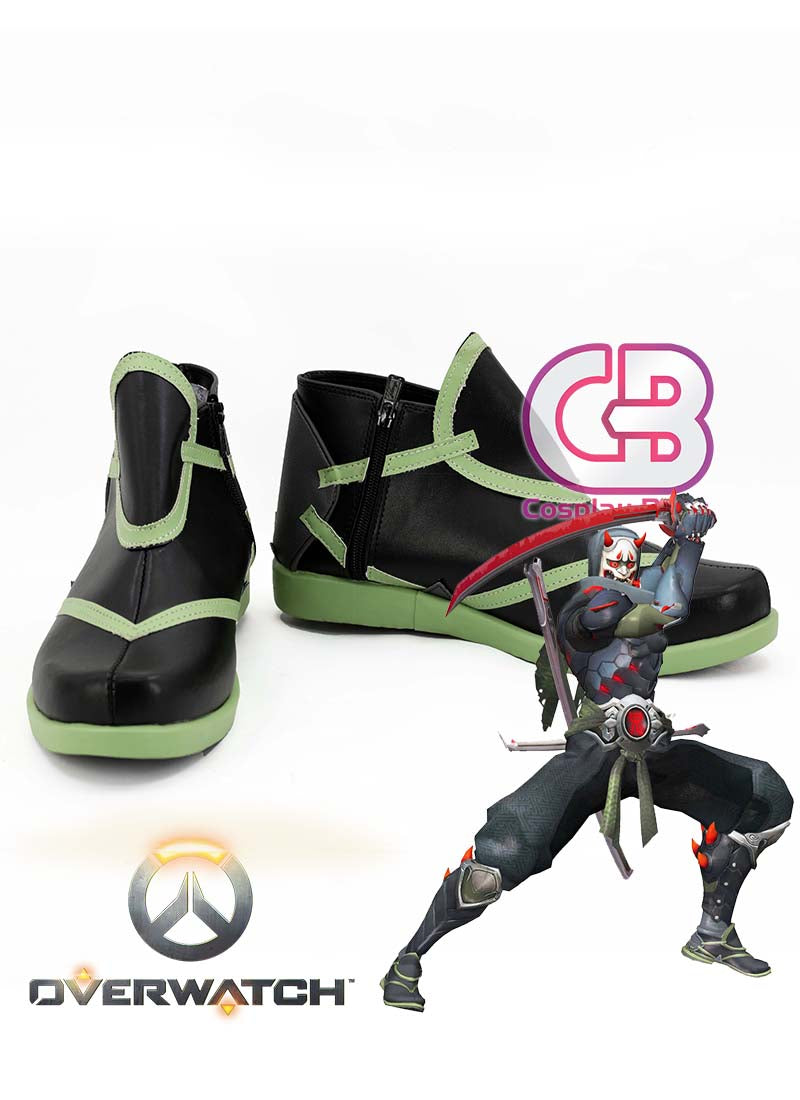 Overwatch Genji Custom-Made Black Mixed Green Shoes / Boots CPA153 - CosplayBuzz