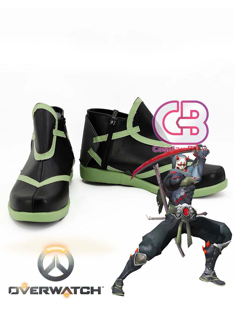Overwatch Genji Custom-Made Black Mixed Green Shoes / Boots CPA153