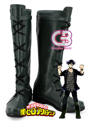 My Hero Academia Tensei Iida Custom-Made Black Shoes / Boots CPA155 - CosplayBuzz
