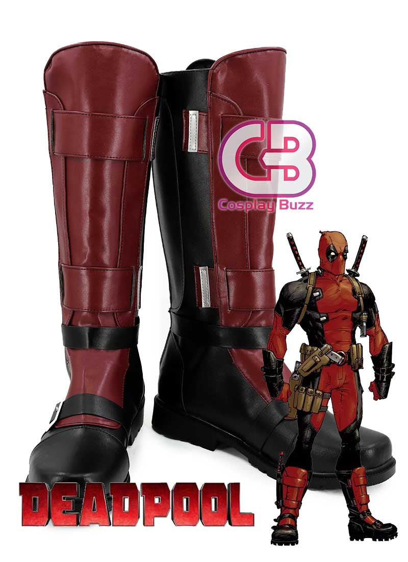 Marvel Deadpool Custom-Made Red Shoes / Boots CPA162 - CosplayBuzz