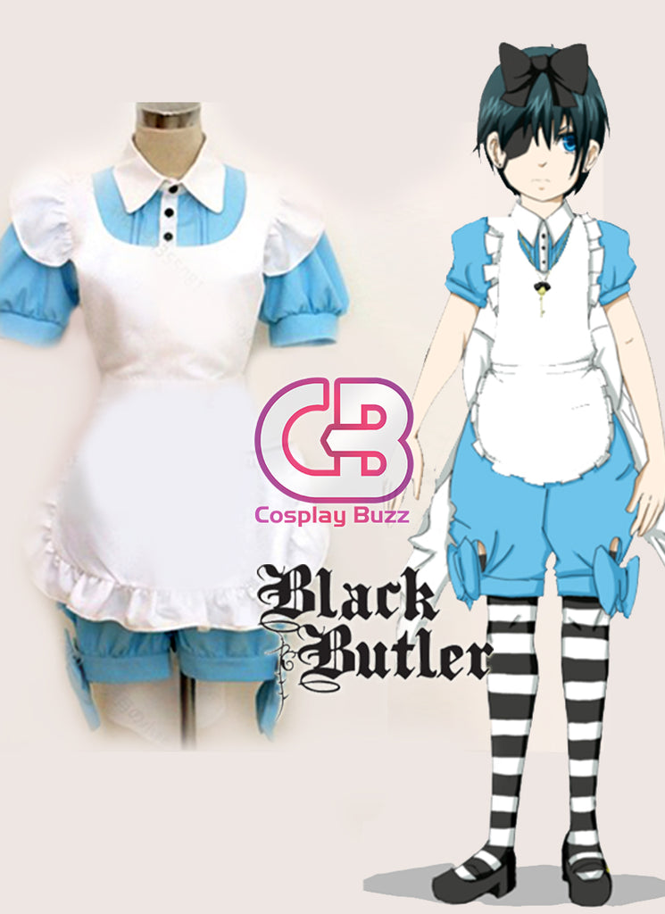 Black Butler Ciel in Wonderland Customizable Anime Cosplay Costume Maid Dress CS010C - CosplayBuzz