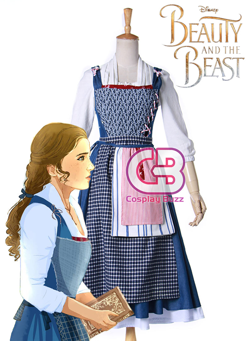 Beauty and the Beast Belle Anime Cosplay Costume Maid Dress CS576 - CosplayBuzz