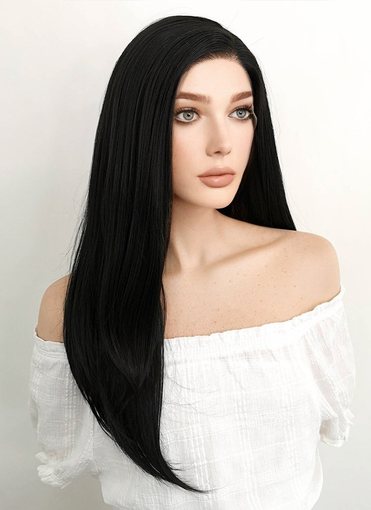 "24"" Long Straight Natural Black Lace Front Synthetic Hair Wig LF003 - CosplayBuzz"