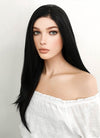Long Straight Natural Black Lace Front Synthetic Hair Wig LF003 - CosplayBuzz