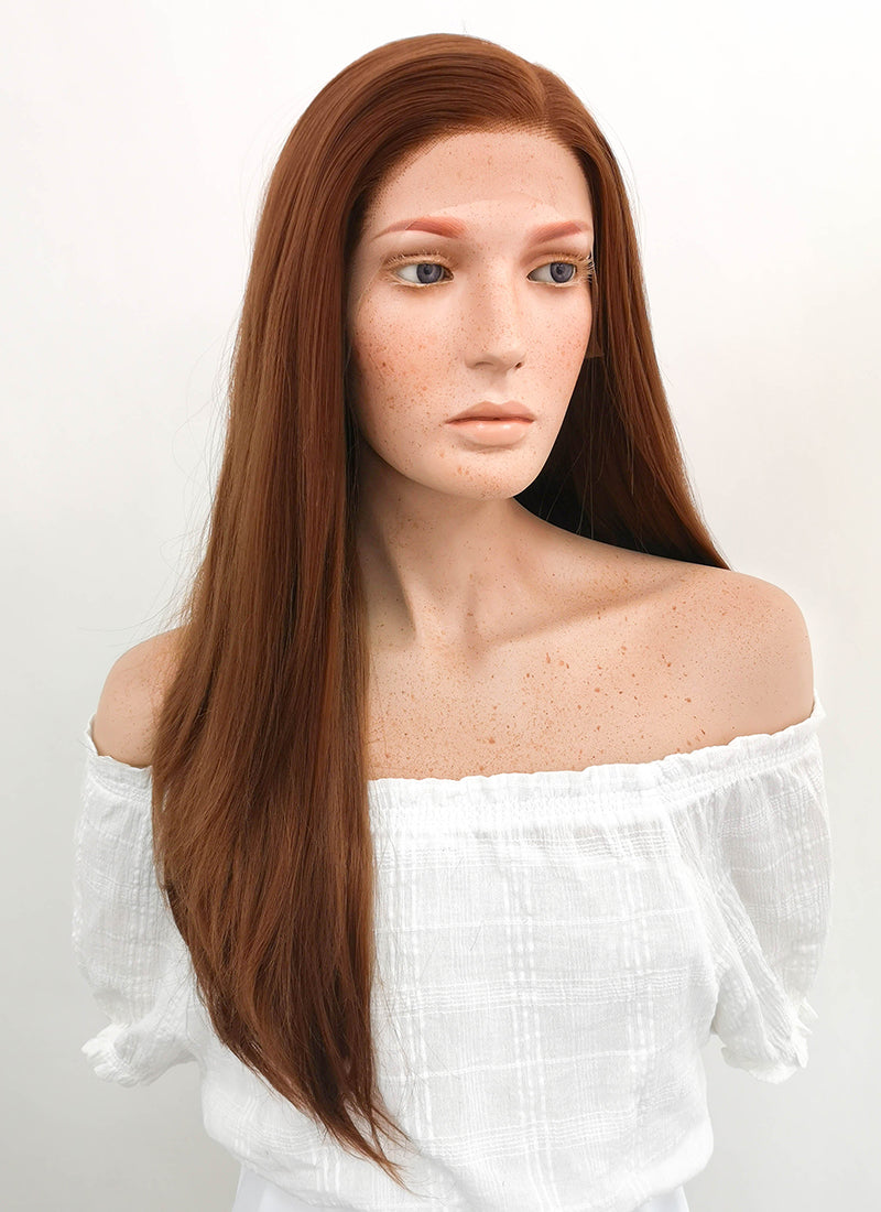 Long Straight Chestnut Brown Lace Front Synthetic Hair Wig LF005