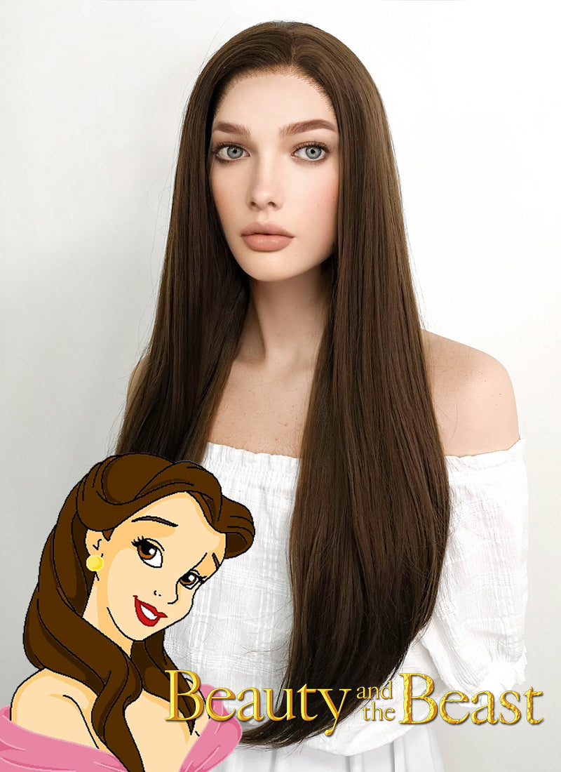 Disney Beauty and the Beast Belle Long Straight Brown Lace Front Synthetic Hair Wig LF006 - CosplayBuzz