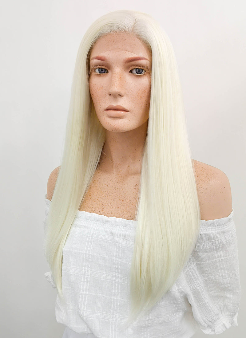 Long Straight Light Blonde Lace Front Synthetic Hair Wig LF010 - CosplayBuzz