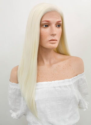 Long Straight Light Blonde Lace Front Synthetic Hair Wig LF010