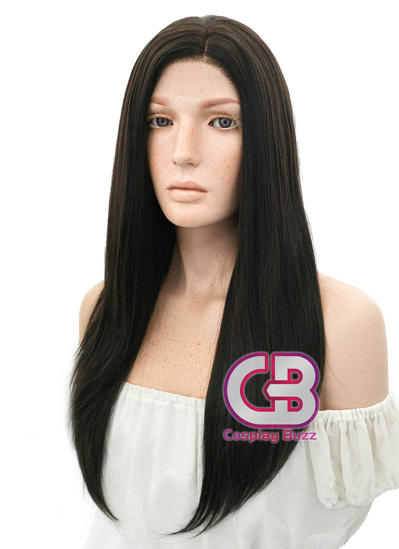 Long Straight Black Mixed Brown Lace Front Synthetic Hair Wig LF013 - CosplayBuzz