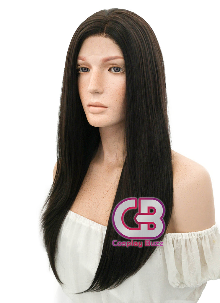 "24"" Long Straight Black Mixed Brown Lace Front Synthetic Hair Wig LF013 - CosplayBuzz"