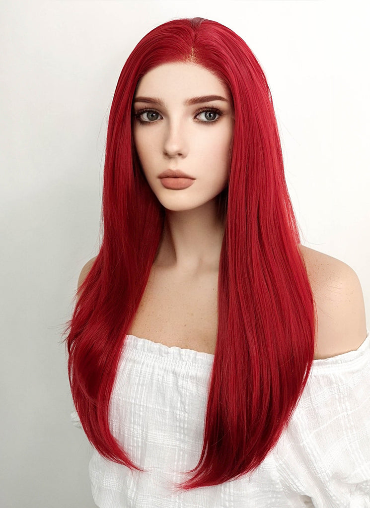 "24"" Long Straight Red Lace Front Synthetic Hair Wig LF025 - CosplayBuzz"