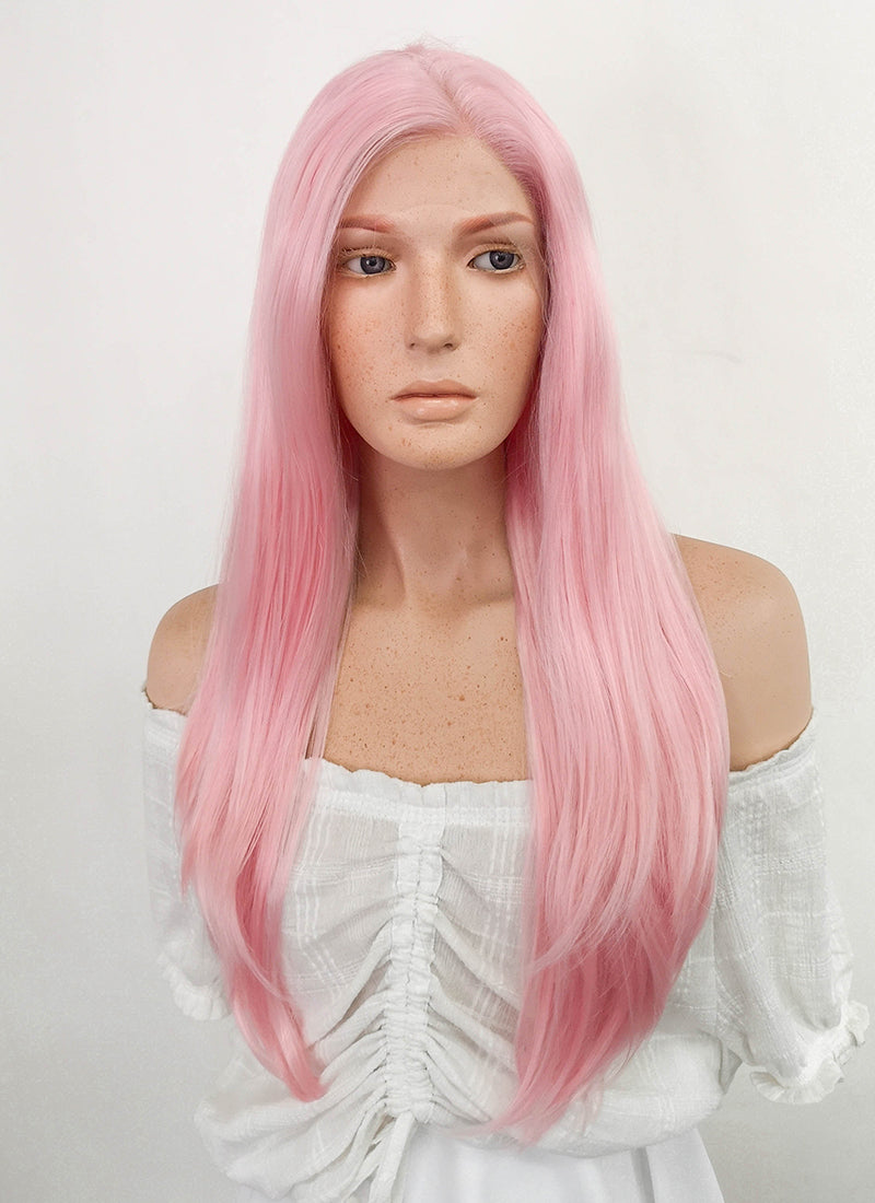 Long Straight Pink Pastel Lace Front Synthetic Hair Wig LF026