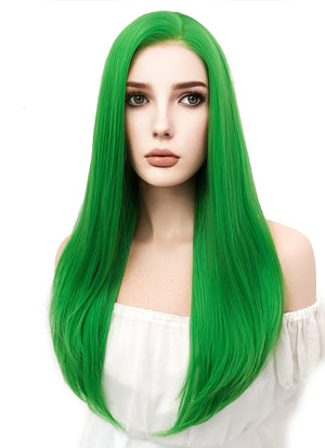 Long Straight Green Lace Front Synthetic Hair Wig LF031 - CosplayBuzz