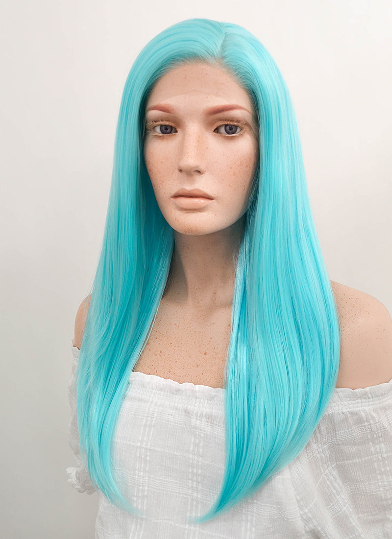 Long Straight Light Blue Lace Front Synthetic Hair Wig LF036