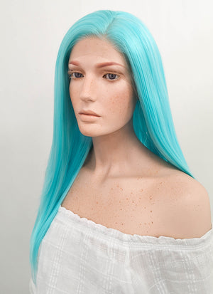Long Straight Light Blue Lace Front Synthetic Hair Wig LF036 - CosplayBuzz