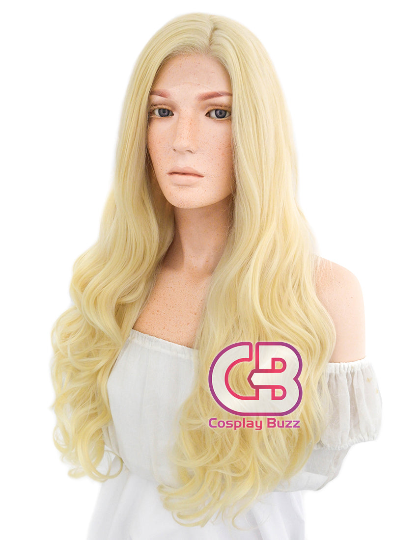 Long Curly Golden Blonde Lace Front Synthetic Hair Wig LF080 - CosplayBuzz