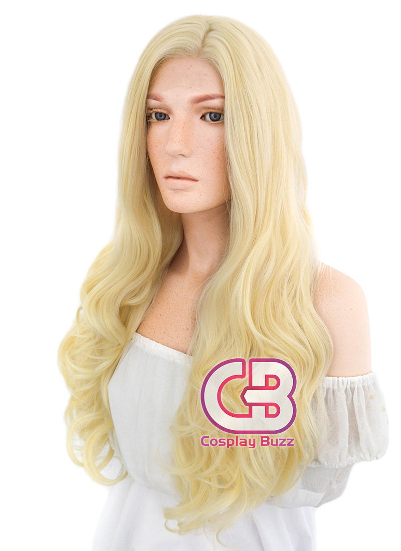 Long Wavy Golden Blonde Lace Front Synthetic Hair Wig LF080 - CosplayBuzz