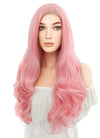 Long Wavy Pink Lace Front Synthetic Hair Wig LF084 - CosplayBuzz