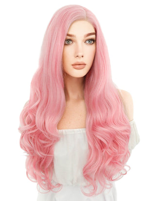 Long Curly Pink Lace Front Synthetic Hair Wig LF084 - CosplayBuzz