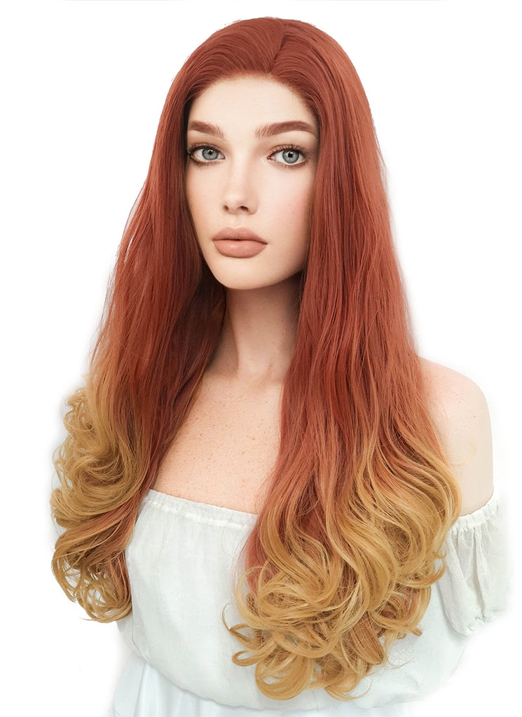 "20"" Long Curly Reddish Orange Mixed Yellow Blonde Lace Front Synthetic Hair Wig LF085H"