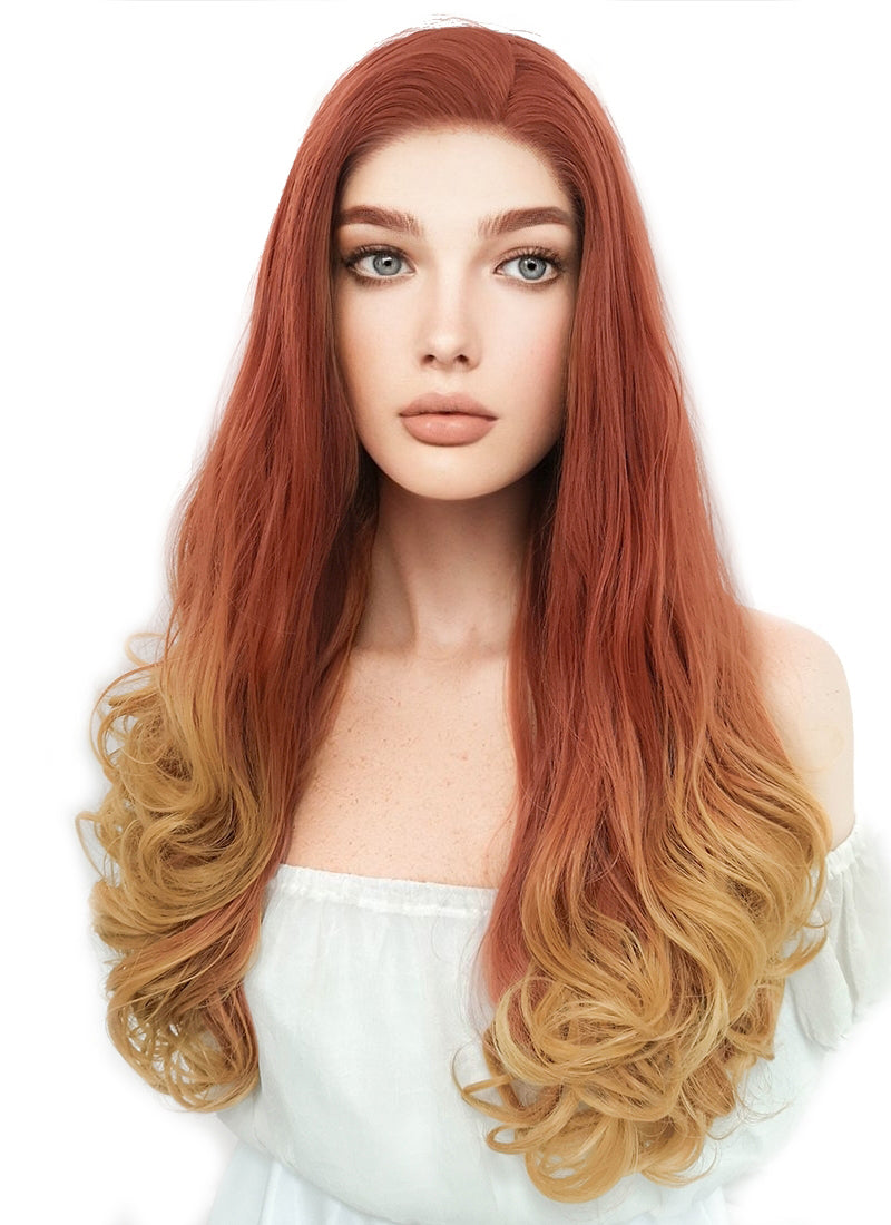 Long Wavy Reddish Orange Mixed Yellow Blonde Lace Front Synthetic Hair Wig LF085H - CosplayBuzz