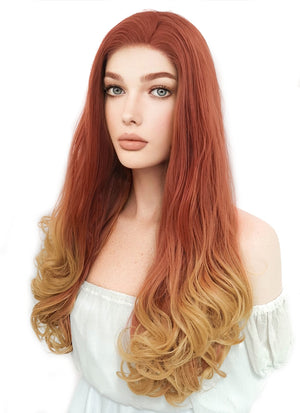 Aloy Horizon Zero Dawn Cosplay Reddish Orange Mixed Yellow Blonde Lace Front Wig LF085H - CosplayBuzz