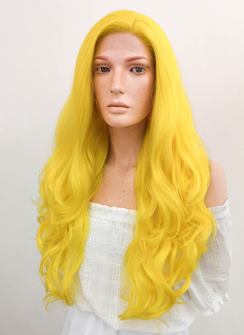 Long Curly Golden Yellow Lace Front Synthetic