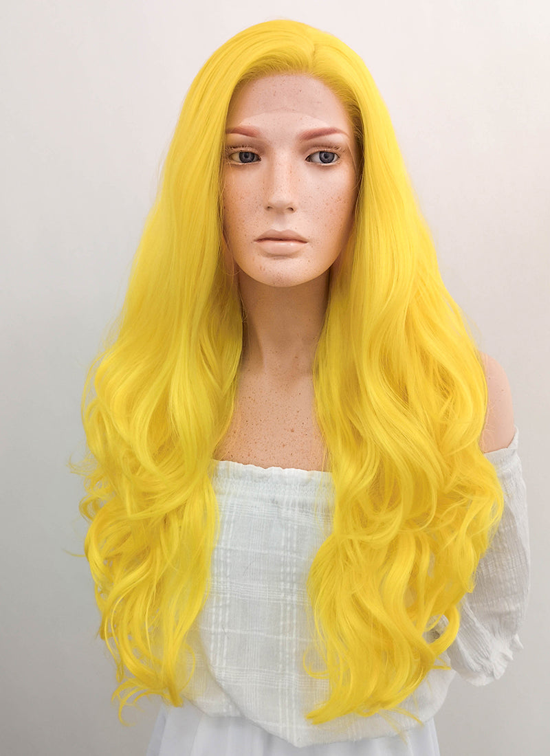 Long Wavy Golden Yellow Lace Front Synthetic Hair Wig LF089
