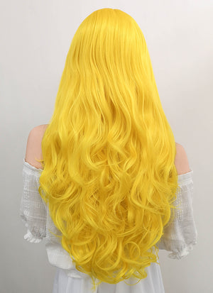 Long Wavy Golden Yellow Lace Front Synthetic Hair Wig LF089 - CosplayBuzz