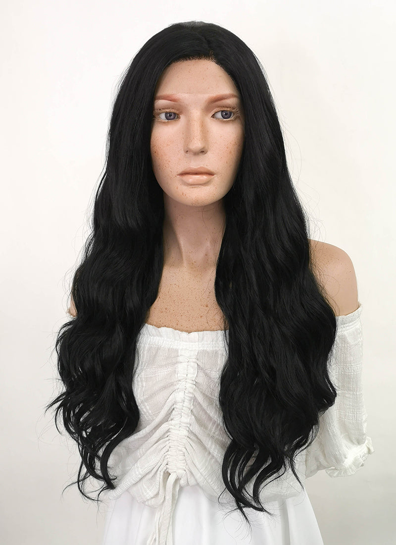 Long Wavy Jet Black Lace Front Synthetic Hair Wig LF094