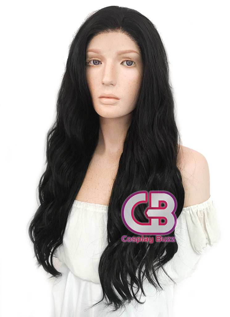 Long Curly Natural Black Lace Front Synthetic Hair Wig LF095 - CosplayBuzz