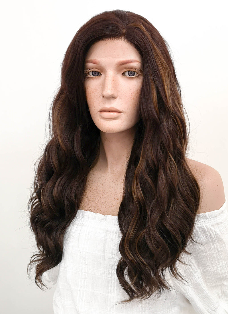 Long Wavy Two Tone Brown Lace Front Synthetic Hair Wig LF105 - CosplayBuzz