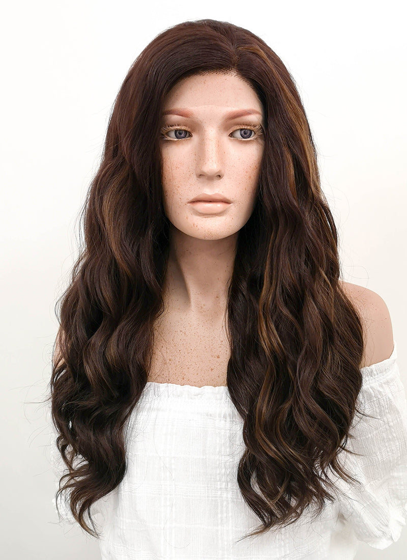 Long Wavy Two Tone Brown Lace Front Synthetic Hair Wig LF105