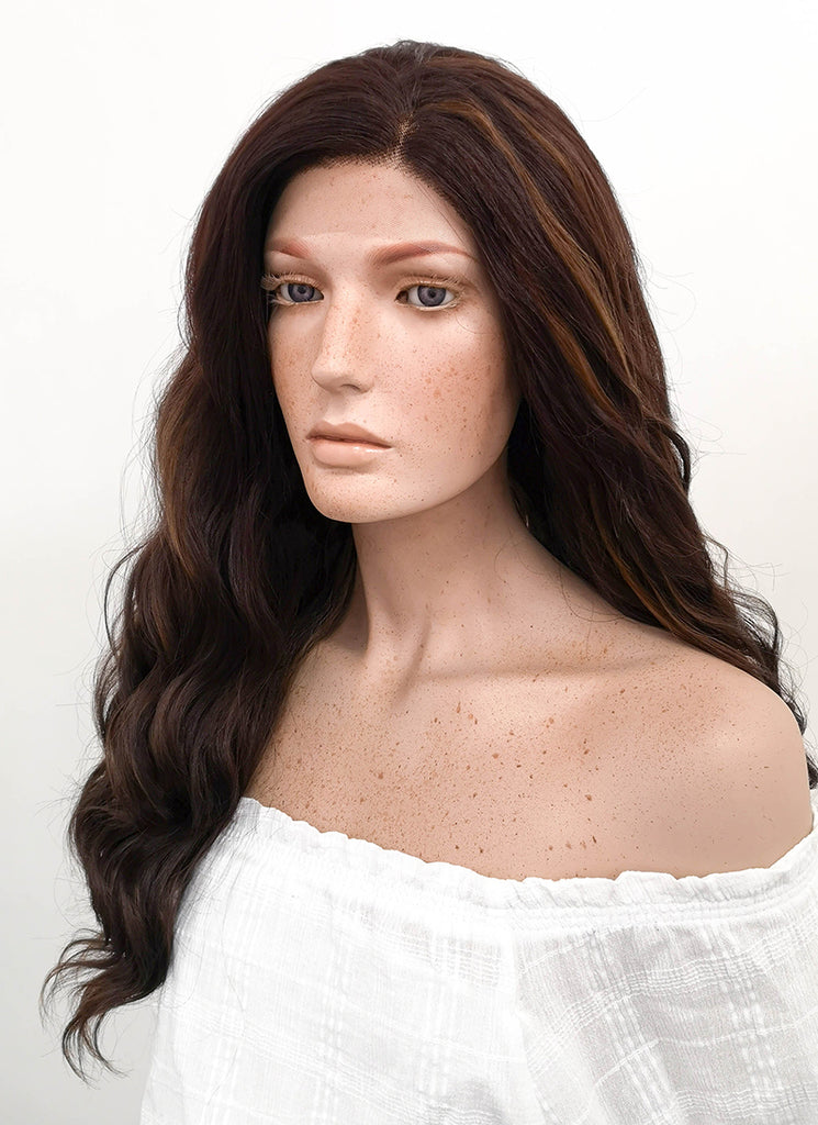 "24"" Long Curly Two Tone Brown Lace Front Synthetic Hair Wig LF105 - CosplayBuzz"