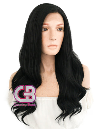 Long Wavy Black Lace Front Synthetic Hair Wig LF110 - CosplayBuzz