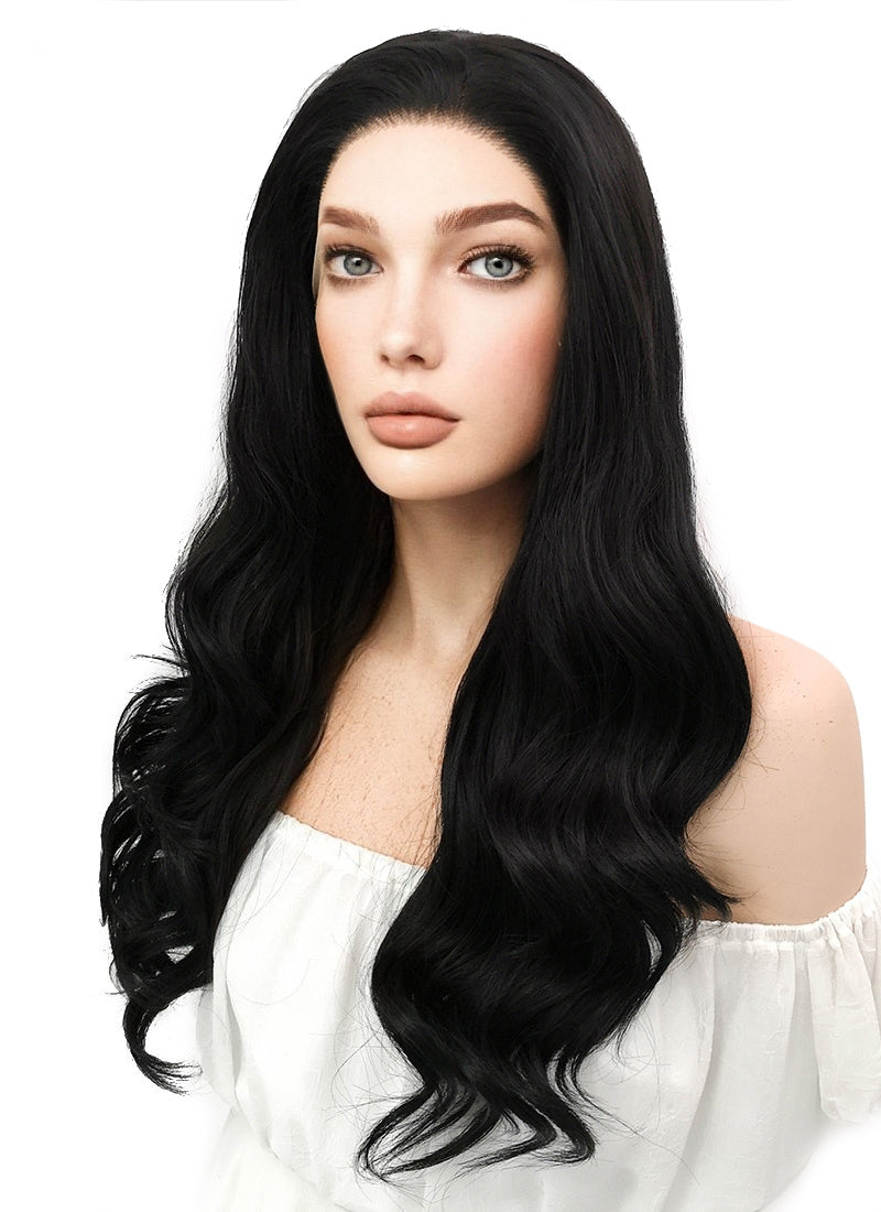 Long Curly Natural Black Lace Front Synthetic Hair Wig LF111 - CosplayBuzz