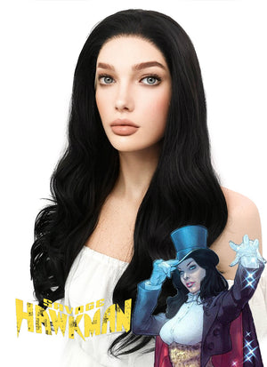 DC Hawkman Zatanna Long Curly Natural Black Lace Front Synthetic Hair Wig LF111 - CosplayBuzz
