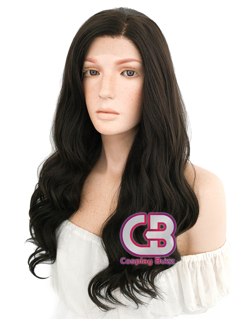 Long Curly Natural Black Lace Front Synthetic Hair Wig LF112 - CosplayBuzz