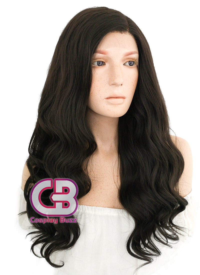 Long Wavy Natural Black Lace Front Synthetic Hair Wig LF112 - CosplayBuzz