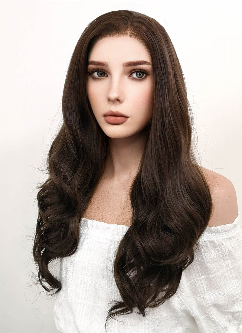Long Wavy Dark Brown Lace Front Synthetic Hair Wig LF117