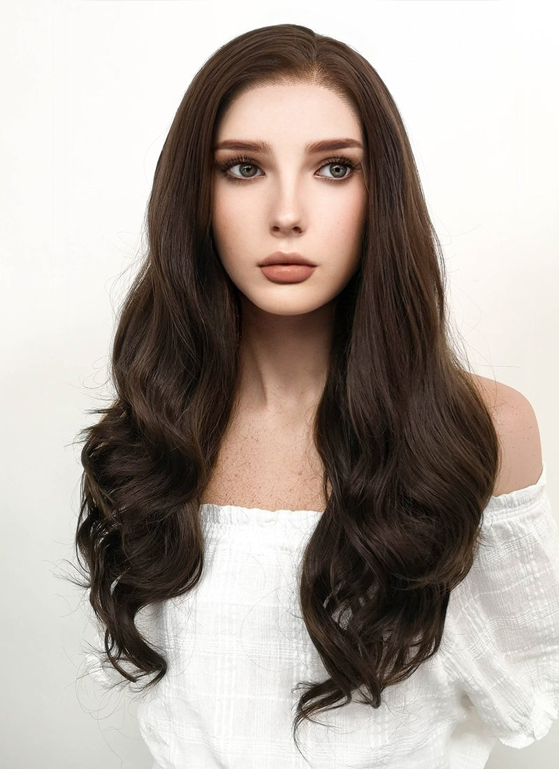Long Wavy Dark Brown Lace Front Synthetic Hair Wig LF117 - CosplayBuzz