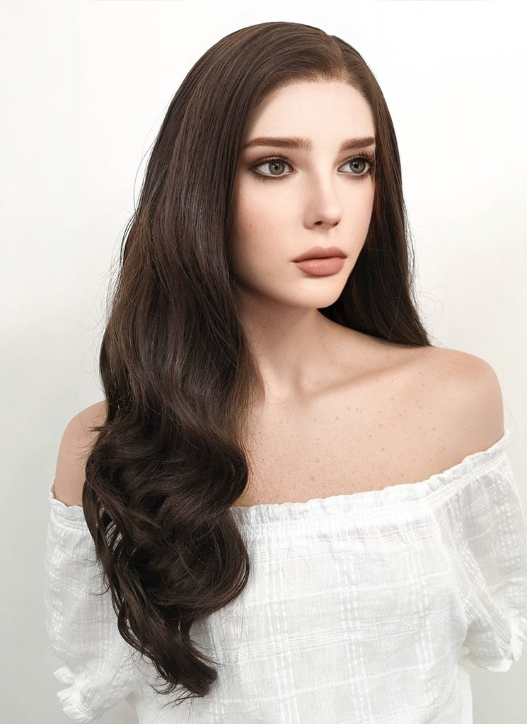 "24"" Long Curly Dark Brown Lace Front Synthetic Hair Wig LF117"