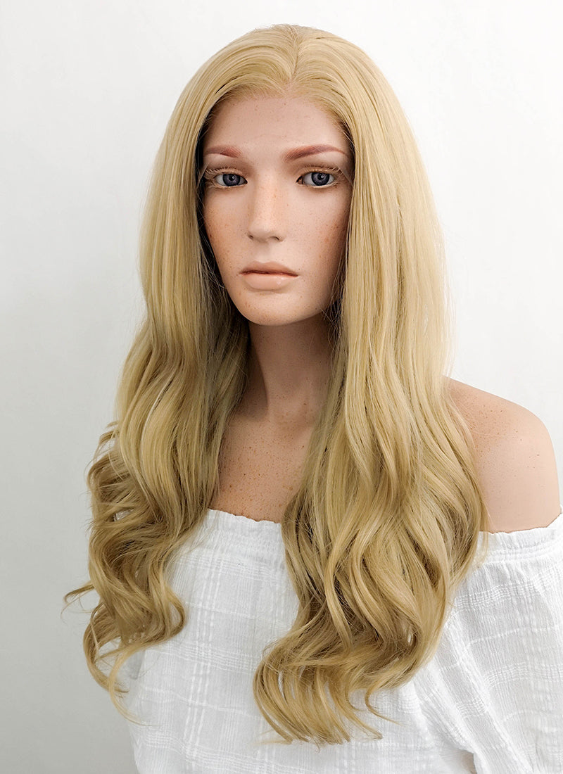 Long Wavy Golden Blonde Lace Front Synthetic Hair Wig LF119 - CosplayBuzz