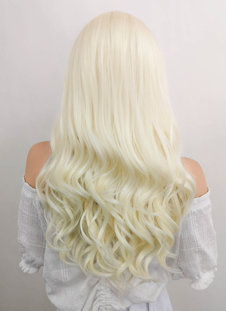 "24"" Long Curly Light Blonde Lace Front Synthetic Hair Wig LF120"