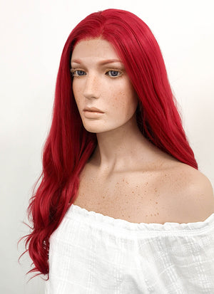 Long Wavy Red Lace Front Synthetic Hair Wig LF123 - CosplayBuzz