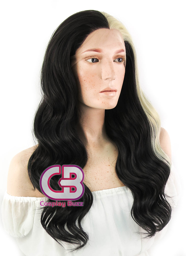 "24"" Long Wavy Black Mixed Blonde Lace Front Synthetic Hair Wig LF1245 - CosplayBuzz"