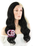 Long Wavy Black Mixed Blonde Lace Front Synthetic Hair Wig LF1245 - CosplayBuzz