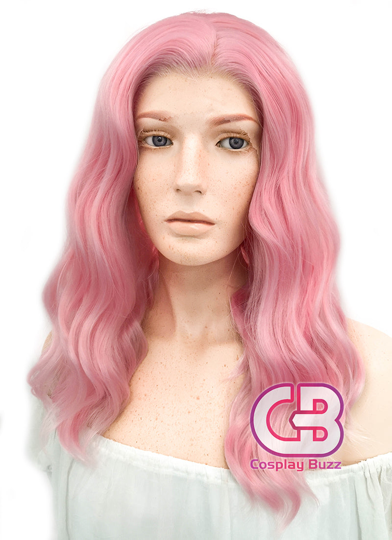Medium Wavy Pink Lace Front Synthetic Hair Wig LF1269 - CosplayBuzz