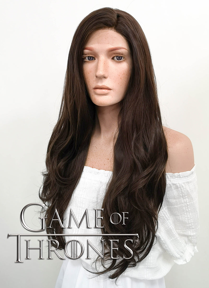 Game of Thrones Sansa Stark Long Curly Dark Brown Lace Front Synthetic Hair Wig LF146