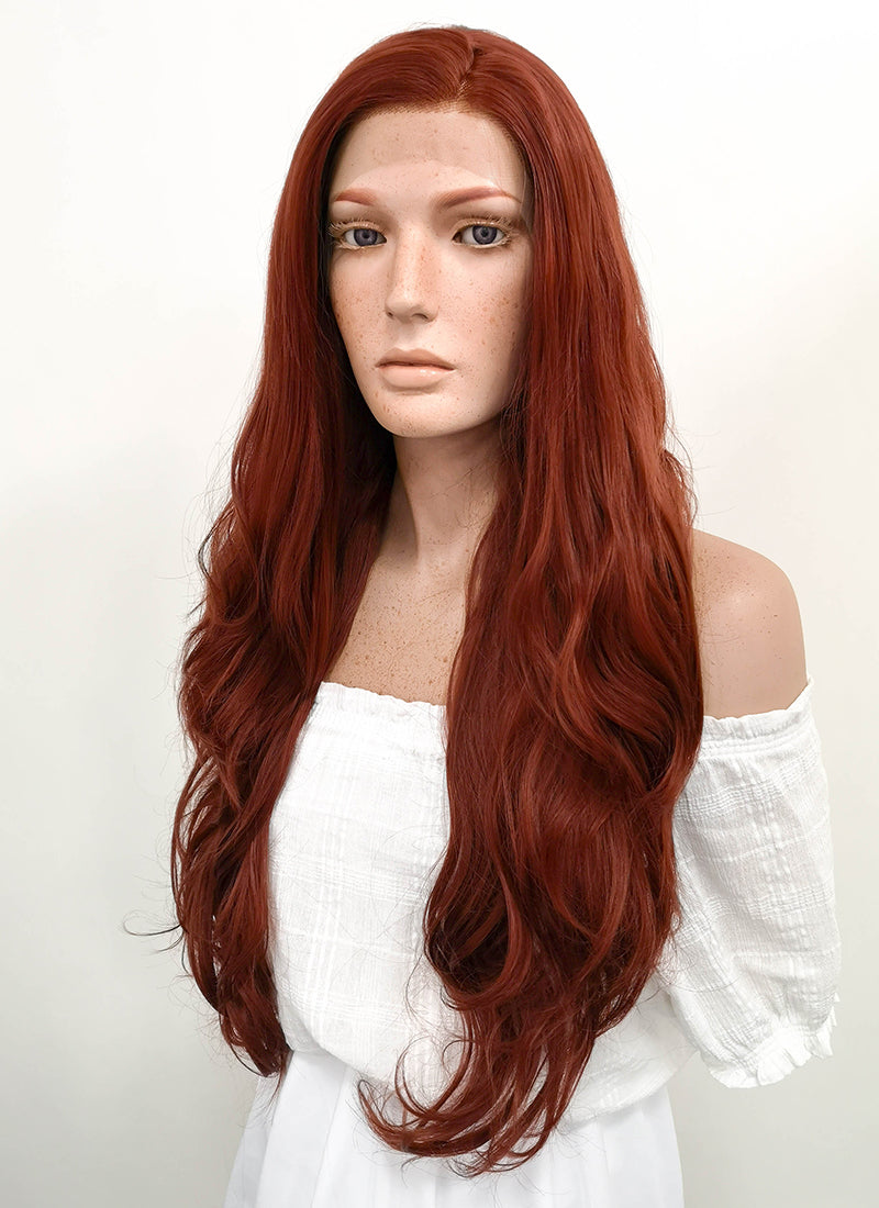 Long Wavy Reddish Brown Lace Front Synthetic Hair Wig LF147 - CosplayBuzz
